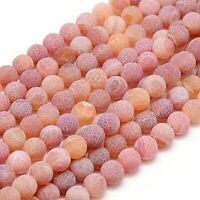 Agate 8mm Beads Natural Weathered Frosted Indian Red 1 Strand Approx 46 Pieces