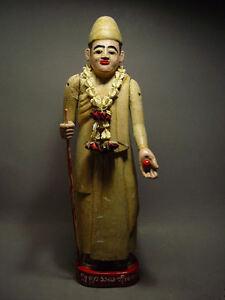 ANTIQUE BURMESE WOOD-CARVED HOLY MAN 'SHAMAN' FIGURE, MYANMAR 19th C.