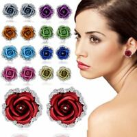 Crystal Red Rose Flower Ear Stud Earrings Women Jewelry Mother's Day Gift New