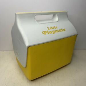Vtg Lemon Yellow Little Playmate by Igloo Push Button Drink Cooler FREE SHIPPING