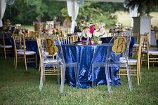 "Navy Glitz Sequin Tablecloth 120"" round Used Once wedding or party Retail 60.00"