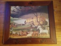 """Wooden Framed Edward Hicks Noah's Ark Lithograph Two By Two Large Rare 36.5x32"""""""