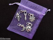 5 x Clip On Wiccan Bracelet Charms goddess sun moon oak king pagan silver set