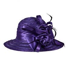 Women Lady Kentucky Derby Church Bridal Wedding Hat Wide Brim Dress Hat