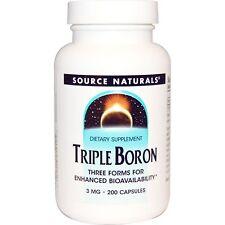 Source Naturals Triple Boron 3 mg 200 Capsules Dairy-Free, Egg-Free,