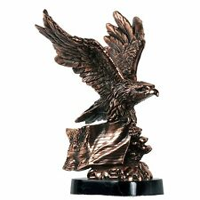 """11"""" Copper Eagle with American Flag Sculpture C1145"""