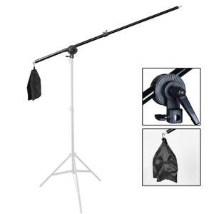 Studio Boom Arm 140cm Telescopic Extension Light Stand Grip Photography Softbox