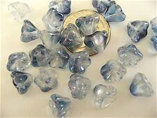 25 Crystal Ice Luster Bell Flower Czech Glass Beads 8mm x 6mm
