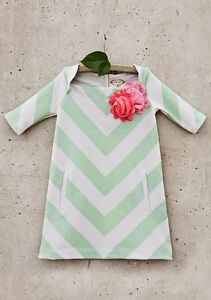 Joyfolie Mia Joy Jayme Green Stripe Dress With Flower Sz. 3 NWT