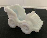Vintage Antique EAPG MILK GLASS Open MASTER Salt Cellar Dip AUTOMOBILE CAR