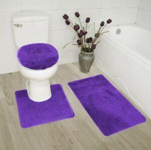 3pc solid plain bathroom set rugs contour mat toilet lid cover bath floor mats