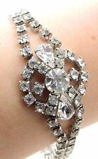 VTG Art Deco Rhodium Silver Tone Clear CZ Rhinestone Flower Bracelet