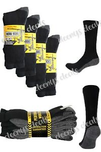 5-20 pairs Mens heavy duty Work Socks Winter Warm Thick Contrast Heel Toe 6-12