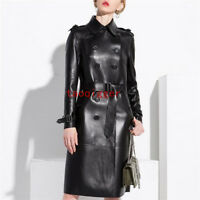 100% Sheepskin Leather Trench Long Coat Women's Double-breasted waistband Jacket