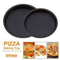 6/8Inch Non Stick Pizza Tray Carbon Steel Baking Round Oven Pizza Pan Plate