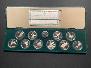 1988 Calgary Winter Olympic PROOF Silver Coin Set 10 Coins w/ box & COA   (total