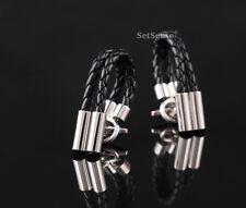 XS11L Black Leather Sliver Luxury Vintage Wedding Mens Cufflinks