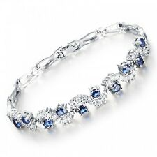 GORGEOUS 18K WHITE GOLD PLATED & SAPPHIRE BLUE CUBIC ZIRCONIA TENNIS  BRACELET