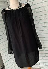 TOP SHOP Black Shift Tunic Dress Sz 12 UK Sheer Sleeves / b8