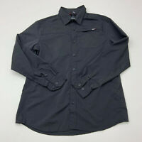 Gerry Button Up Shirt Mens Large Black Polyester Long Sleeve Casual