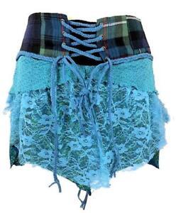 Écossais Kilt Écossais Jupe Bleu 8 10 12 14 M Court Mini Coton à Lacet Fête
