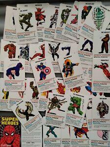 1977 Marvel super Heroes full set card game  good condition vintage