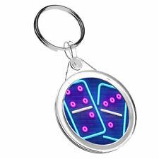 1 X Beautiful Neon Dominoes Game - Keyring IR02 Mum Dad Birthday Gift #16019