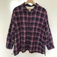 Women's L.L. Bean Purple Plaid Flannel Shirt Jacket with White Fleece Lining