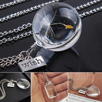Crystal Ball Real Dandelion Seed Wishing Wish Necklace Long Silver Chains NEU
