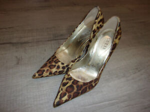 Quite Used Worn Guess Carrie Cheetah Stiletto Pumps Heels Court Shoes Size 7.5M