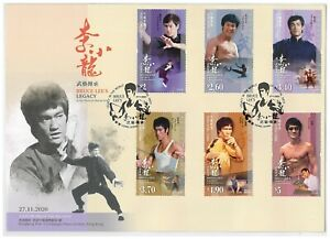 Hong Kong 2020 Bruce Lee's Legacy in Martial Arts World 6 Stamps First Day Cover