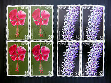 NEVIS Flowers $3 & $5 in Fine/Used Blocks of 4 NEW LOWER PRICE FP2495