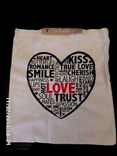 BNWT  LOVE HEART CANVAS REUSABLE SHOPPING SHOULDER BAG