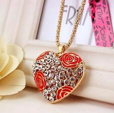 pendant rhinestone Roses heart necklaces Valentine's Day present Betsey Johnson