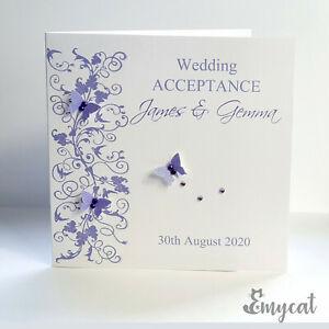 Personalised Handmade Wedding Acceptance Card Lilac/Purple **Free UK P&P**