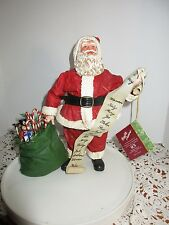 1992 Clothtique Possible Dreams Santa  with List of Names & Bag of Toys