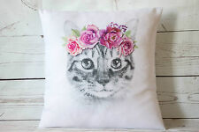 """Rose Kitty - 16"""" cushion cover shabby vintage chic ..Cat lover gift!"""