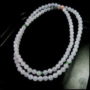 【KOOJADE】 Icy Emerald Jadeite Jade Beads Necklace《108》《GradeA》
