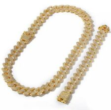 Mens Gold Chain Set Belcher Chain Choker 18inch Iced Out Trapstar Hiphop Bling