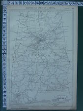 1922 LARGE AMERICA MAP ~ ALABAMA ~ MILEAGE RAILROADS RAND MCNALLY