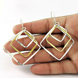 HANDMADE Indian Jewelry 925 Solid Sterling Silver Stylish Earrings B22