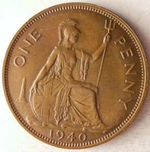 1940 GREAT BRITAIN PENNY - High Quality Coin - FREE SHIP - BIN #147