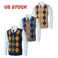 Mens Sweater Jumper Vest Sleeveless Argyle Golf Knitted Pullover V-Neck Tank Top