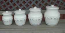 Longaberger Woven Traditions Pottery Canister Set Classic Blue Usa~Complete Set