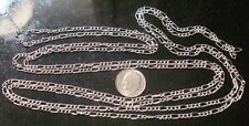 5 ft Sterling silver plated figaro link chain 8 links per in 6x3mm-3x2mm pch030