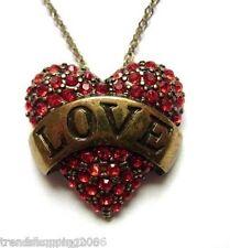 Cadena Collier Necklace, corazón con letras cheers amor, pedrería, latón colores, rojo