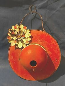 Vintage Metal Red Sun Hat Hanging Birdhouse