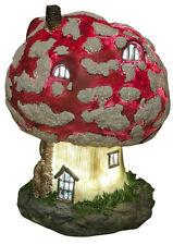 Toadstool Fairy House Solar Powered LED Lights Up At Dusk Fairy Garden Ornament