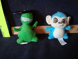 "Neopets Plush green dino and blue monkey 4"" long ea.  2 total. C. 2005"