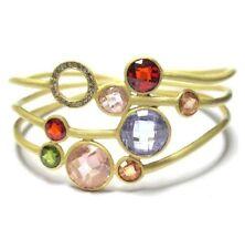Multi Color CZs Brushed Yellow Gold Tone 3 Row Bangle Bracelet